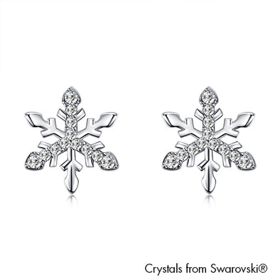 Snowflake Earrings (Clear Crystal, Pure Rhodium Plated) - Lush Addiction, Crystals from Swarovski®