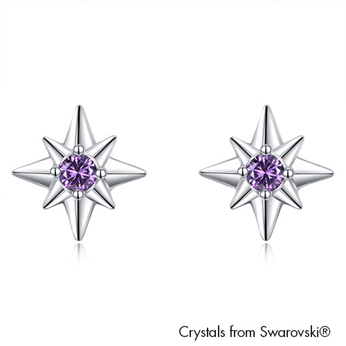 Northern Star Earrings (Violet, Pure Rhodium Plated) - Lush Addiction, Crystals from Swarovski®