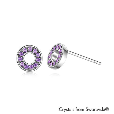 Donut Earrings Violet Pure Rhodium Plated Lush Addiction Crystals from Swarovski