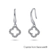 Lucky Clover Earrings Clear Crystal Pure Rhodium Plated Lush Addiction Crystals from Swarovski