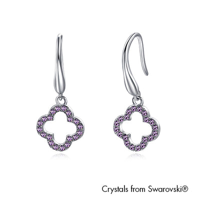 Lucky Clover Earrings Violet Pure Rhodium Plated Lush Addiction Crystals from Swarovski