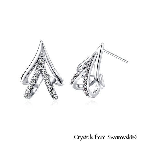Pine Tree Earrings Clear Crystal Pure Rhodium Plated Lush Addiction Crystals from Swarovski