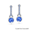 Shanna Earrings (Sapphire, Pure Rhodium Plated) - Lush Addiction, Crystals from Swarovski®