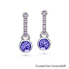 Shanna Earrings (Tanzanite, Pure Rhodium Plated) - Lush Addiction, Crystals from Swarovski®