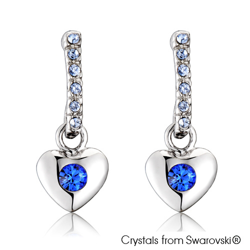 Lave Earrings (Sapphire, Pure Rhodium Plated) - Lush Addiction, Crystals from Swarovski®