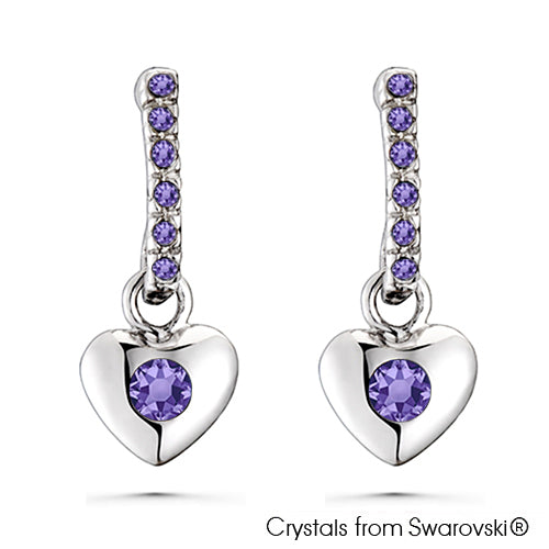 Lave Earrings (Tanzanite, Pure Rhodium Plated) - Lush Addiction, Crystals from Swarovski®