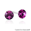Solitaire Birthstone Stud Earrings (Amethyst, Pure Rhodium Plated) - Lush Addiction, Crystals from Swarovski