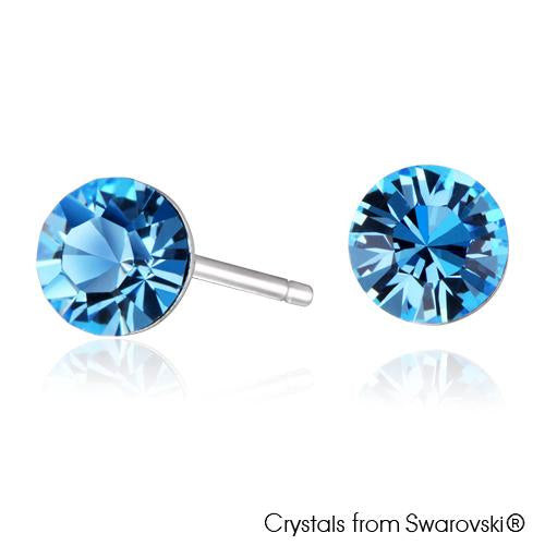 Solitaire Birthstone Stud Earrings (Aquamarine, Pure Rhodium Plated) - Lush Addiction, Crystals from Swarovski