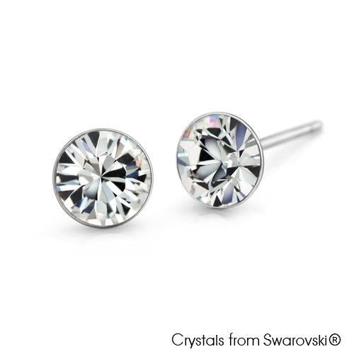 Solitaire Birthstone Stud Earrings (Clear Crystal, Pure Rhodium Plated) - Lush Addiction, Crystals from Swarovski
