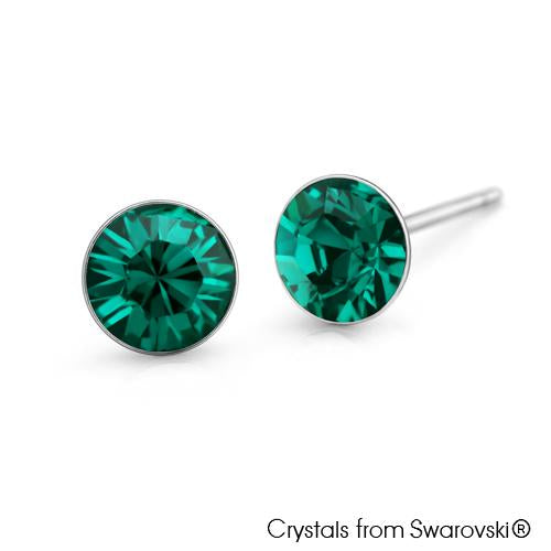 Solitaire Birthstone Stud Earrings (Emerald, Pure Rhodium Plated) - Lush Addiction, Crystals from Swarovski