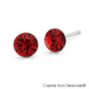 Solitaire Birthstone Stud Earrings (Garnet, Pure Rhodium Plated) - Lush Addiction, Crystals from Swarovski