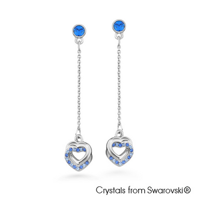 Cherelle Earrings Capri Blue Pure Rhodium Plated Lush Addiction Crystals from Swarovski