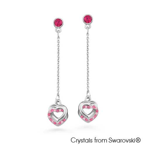 Cherelle Earrings Fuchsia Pure Rhodium Plated Lush Addiction Crystals from Swarovski