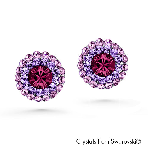 Cloris Earrings (Amethyst, Pure Rhodium Plated) - Lush Addiction, Crystals from Swarovski®