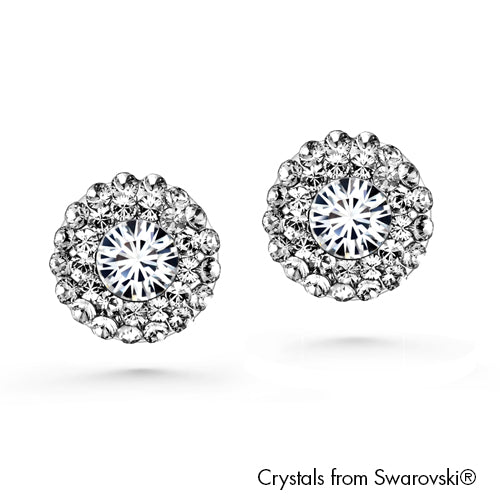 Cloris Earrings (Clear Crystal, Pure Rhodium Plated) - Lush Addiction, Crystals from Swarovski®
