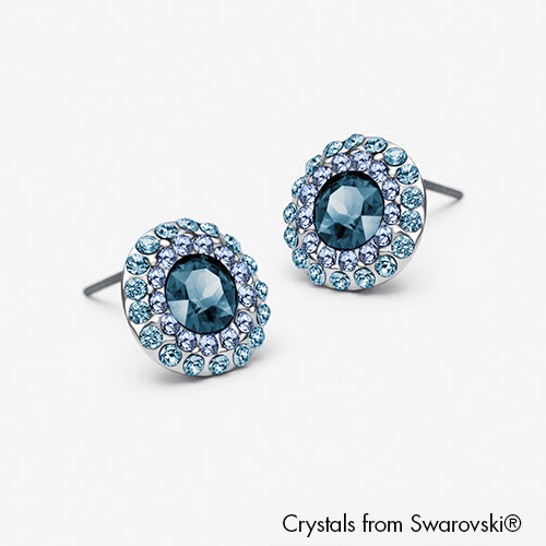 Cloris Earrings (Capri Blue, Pure Rhodium Plated) - Lush Addiction, Crystals from Swarovski®