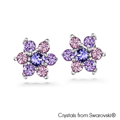 Neus Earrings Tanzanite Pure Rhodium Plated Lush Addiction Crystals from Swarovski