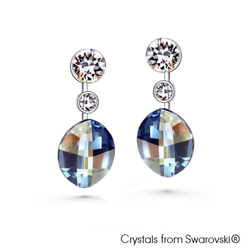 Leora Earrings (Crystal Blue Shade, Pure Rhodium Plated) - Lush Addiction, Crystals from Swarovski®