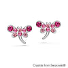 Gilen Earrings (Fuchsia, Pure Rhodium Plated) - Lush Addiction, Crystals from Swarovski®