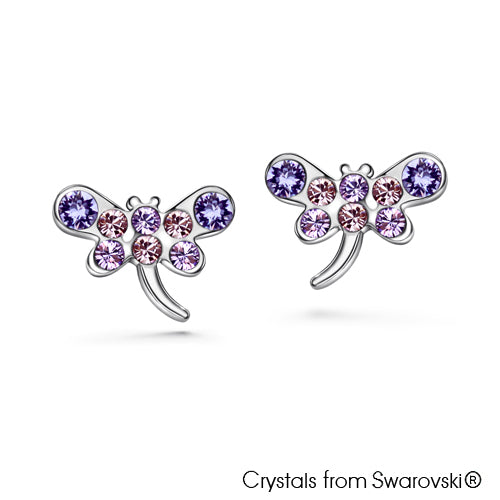 Gilen Earrings (Tanzanite, Pure Rhodium Plated) - Lush Addiction, Crystals from Swarovski®