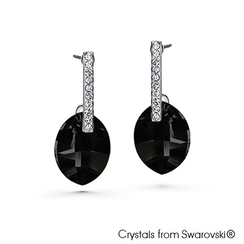 Larissa Earrings (Jet, Pure Rhodium Plated) - Lush Addiction, Crystals from Swarovski®