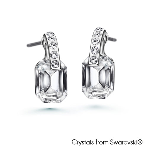 Orthogonal Earrings (Clear Crystal, Pure Rhodium Plated) - Lush Addiction, Crystals from Swarovski®