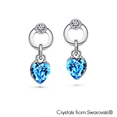 Devoted Heart Earrings (Rose, Pure Rhodium Plated) - Lush Addiction, Crystals from Swarovski®