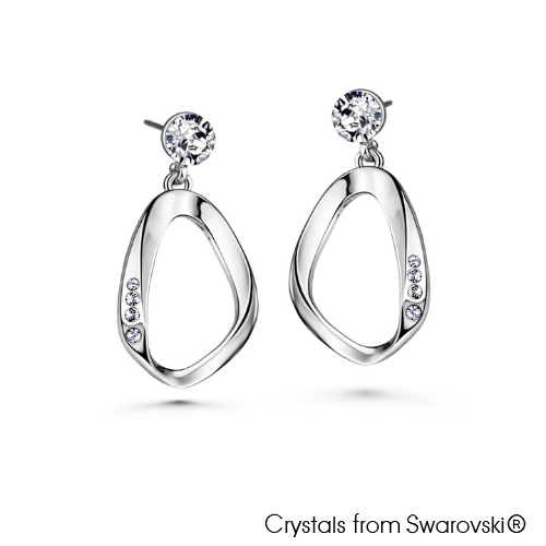 Amaris Earrings (Rose, Pure Rhodium Plated) - Lush Addiction, Crystals from Swarovski