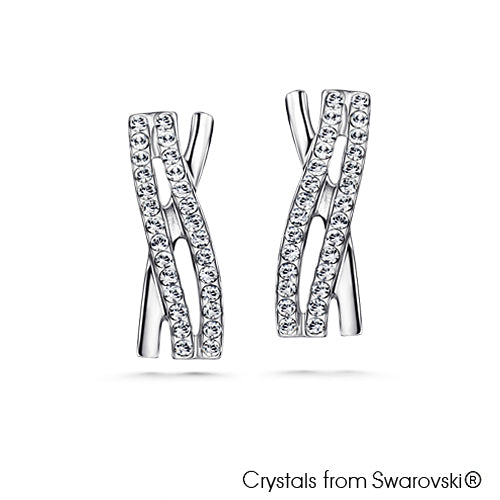 Elnora Earrings (Clear Crystal, Pure Rhodium Plated) - Lush Addiction, Crystals from Swarovski®