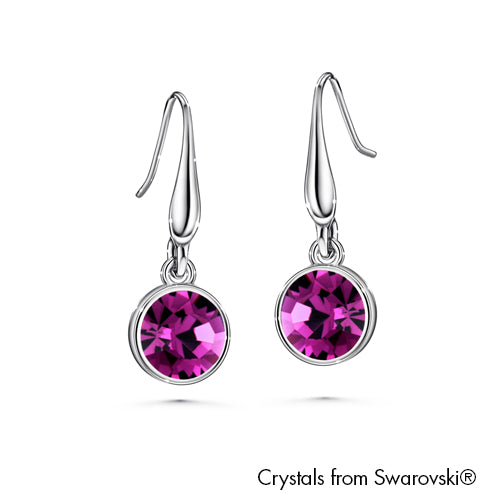 Solitaire Birthstone Hook Earring (Amethyst, Pure Rhodium Plated) - Lush Addiction, Crystals from Swarovski®