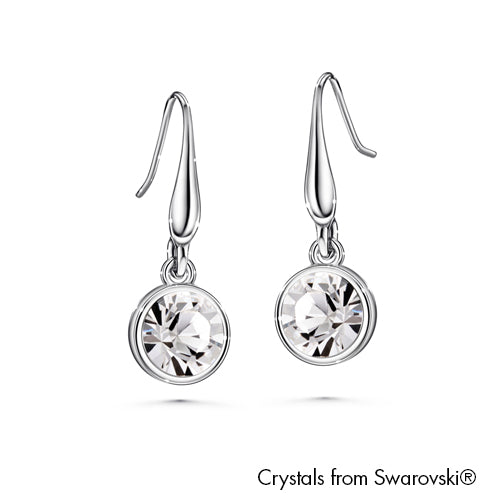 Solitaire Birthstone Hook Earring (Clear Crystal, Pure Rhodium Plated) - Lush Addiction, Crystals from Swarovski®