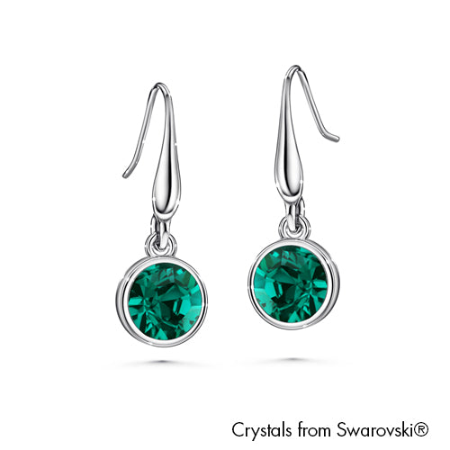 Solitaire Birthstone Hook Earring (Emerald, Pure Rhodium Plated) - Lush Addiction, Crystals from Swarovski®