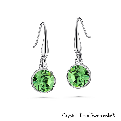 Solitaire Birthstone Hook Earring (Peridot, Pure Rhodium Plated) - Lush Addiction, Crystals from Swarovski®