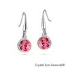 Solitaire Birthstone Hook Earring (Rose, Pure Rhodium Plated) - Lush Addiction, Crystals from Swarovski®