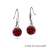 Solitaire Birthstone Hook Earring (Ruby, Pure Rhodium Plated) - Lush Addiction, Crystals from Swarovski®