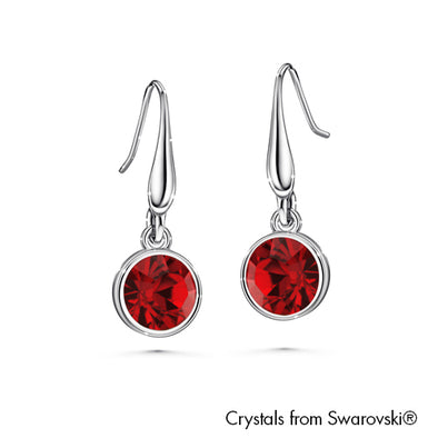 Solitaire Birthstone Hook Earring (Garnet, Pure Rhodium Plated) - Lush Addiction, Crystals from Swarovski®