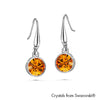 Solitaire Birthstone Hook Earring (Topaz, Pure Rhodium Plated) - Lush Addiction, Crystals from Swarovski®