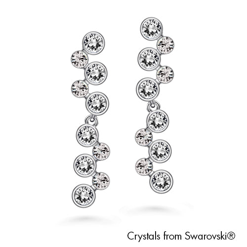 Symphony Earrings (Clear Crystal, Pure Rhodium Plated) - Lush Addiction