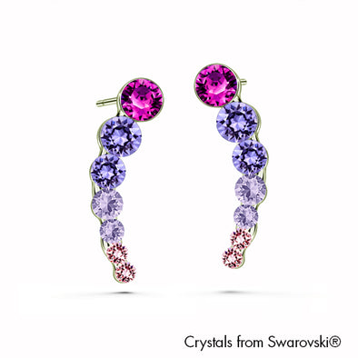 Lynn Earrings (Amethyst, Pure Rhodium Plated) - Lush Addiction, Crystals from Swarovski®