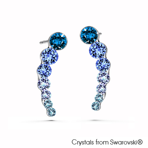 Lynn Earrings (Sapphire, Pure Rhodium Plated) - Lush Addiction, Crystals from Swarovski®