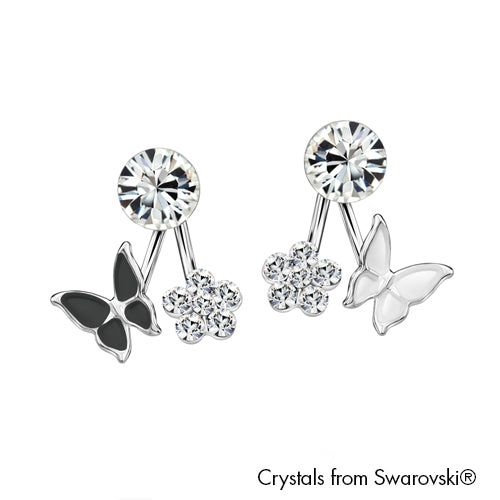Hanna Earrings Jet Pure Rhodium Plated Lush Addiction Crystals from Swarovski