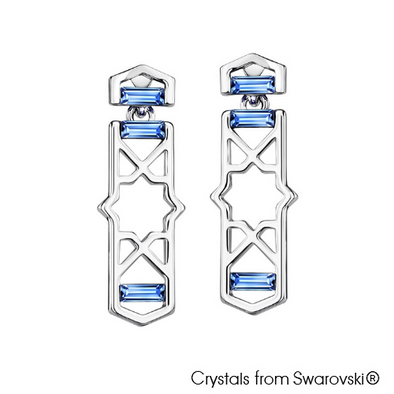 Mosaic Earrings (Light Sapphire, Pure Rhodium Plated) - Lush Addiction, Crystals from Swarovski®