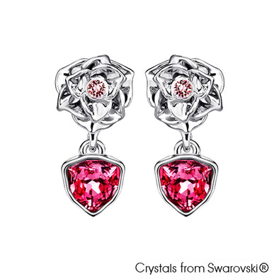 Trilliant Rose Earrings (Rose, Pure Rhodium Plated) - Lush Addiction, Crystals from Swarovski®