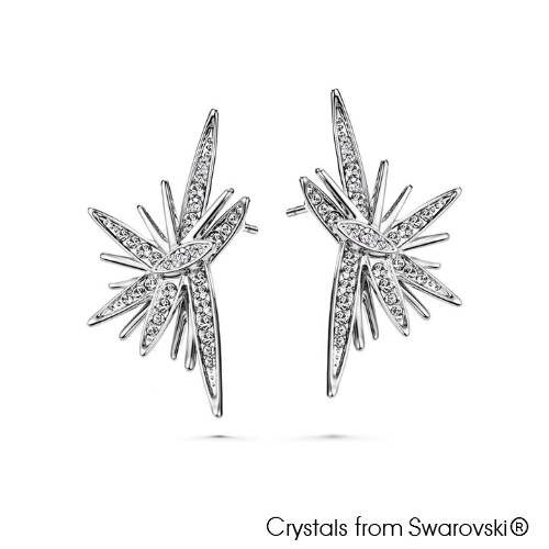 Astra Earrings (Clear Crystal, Pure Rhodium Plated) - Lush Addiction, Crystals from Swarovski®
