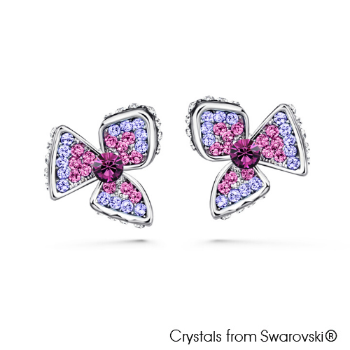 Claefer Earrings (Amethyst, Pure Rhodium Plated) - Lush Addiction, Crystals from Swarovski®