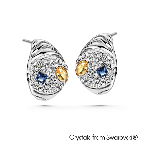 Glamourous Earrings Multi Colour Pure Rhodium Plated Lush Addiction Crystals from Swarovsk