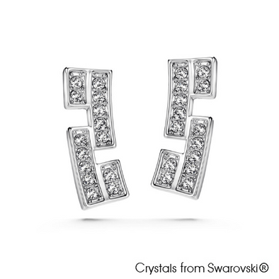 Glamour Earrings (Clear Crystal, Pure Rhodium Plated) - Lush Addiction, Crystals from Swarovski®