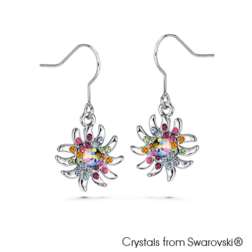 Jellyfish Earrings (Multi-Colour, Pure Rhodium Plated) - Lush Addiction, Crystals from Swarovski®