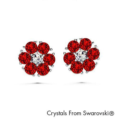 Flower Birthstone Earrings (Garnet, Pure Rhodium Plated) - Lush Addiction, Crystals from Swarovski