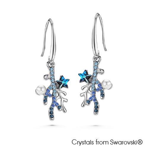 Coralyne Earrings (Pure Rhodium Plated) - Lush Addiction, Crystals from Swarovski®